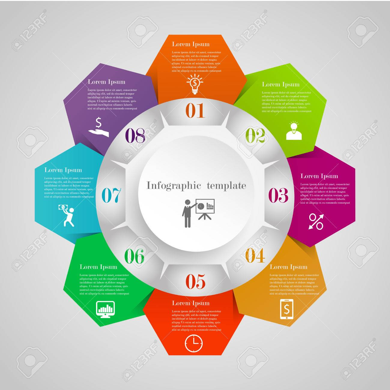 Infographic circle hexagon flowchart template with 8 options infographic circle hexagon flowchart template with 8 options icons and text can be used ccuart Gallery