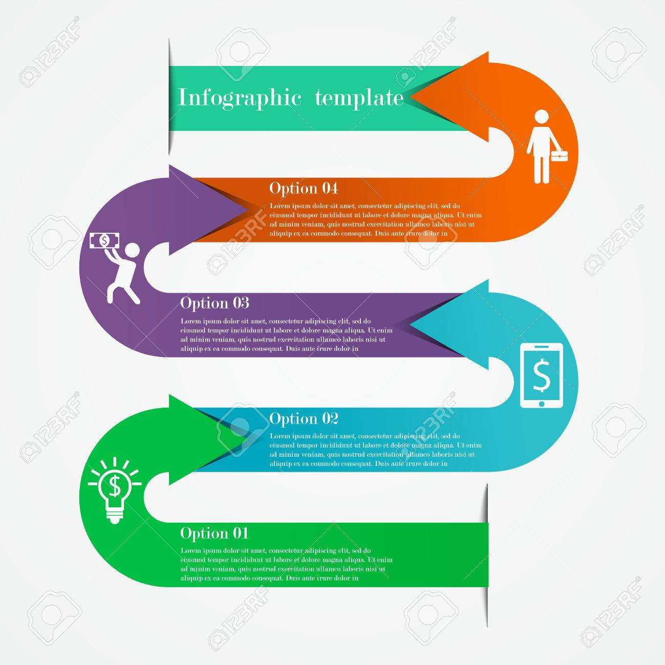 Arrows infographic template in the form of snake business concept arrows infographic template in the form of snake business concept with 4 options steps cheaphphosting Gallery