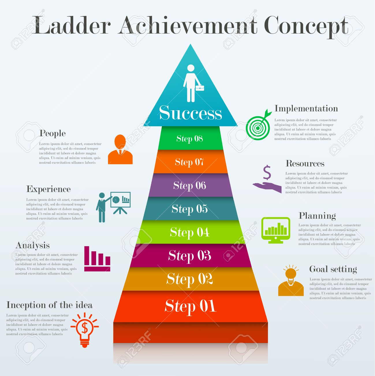 Ladder Achievement Concept. Infographic Template Of 8 Stages Way ...