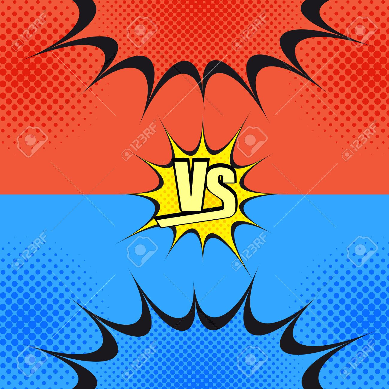 versus wording comic fight template cartoon background with