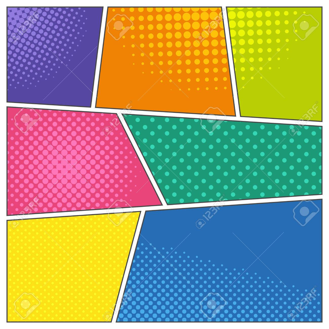 Comic Book Frames In Different Colors With Dotted And Halftone ...