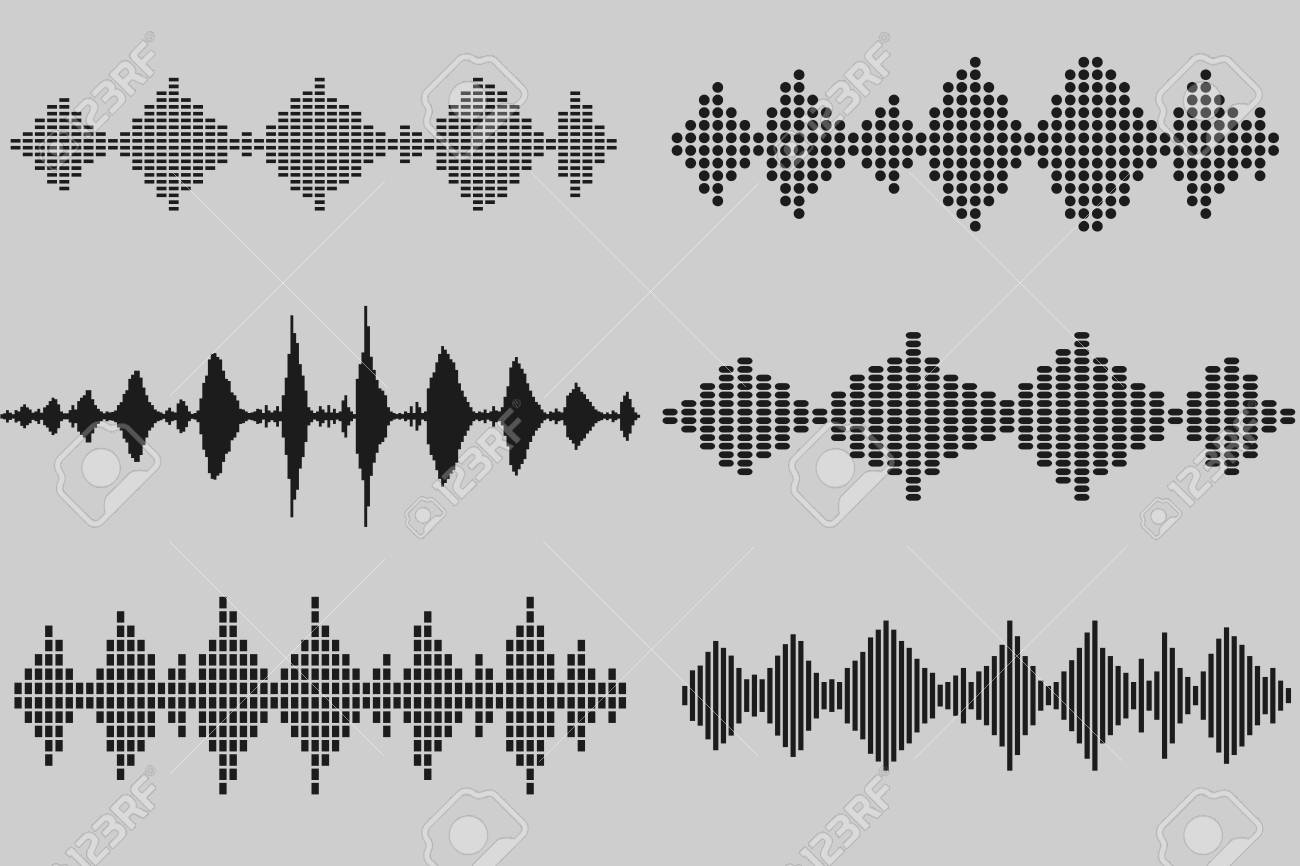 Set Of Sound And Audio Music Waves In Black Colors. Prepared ...