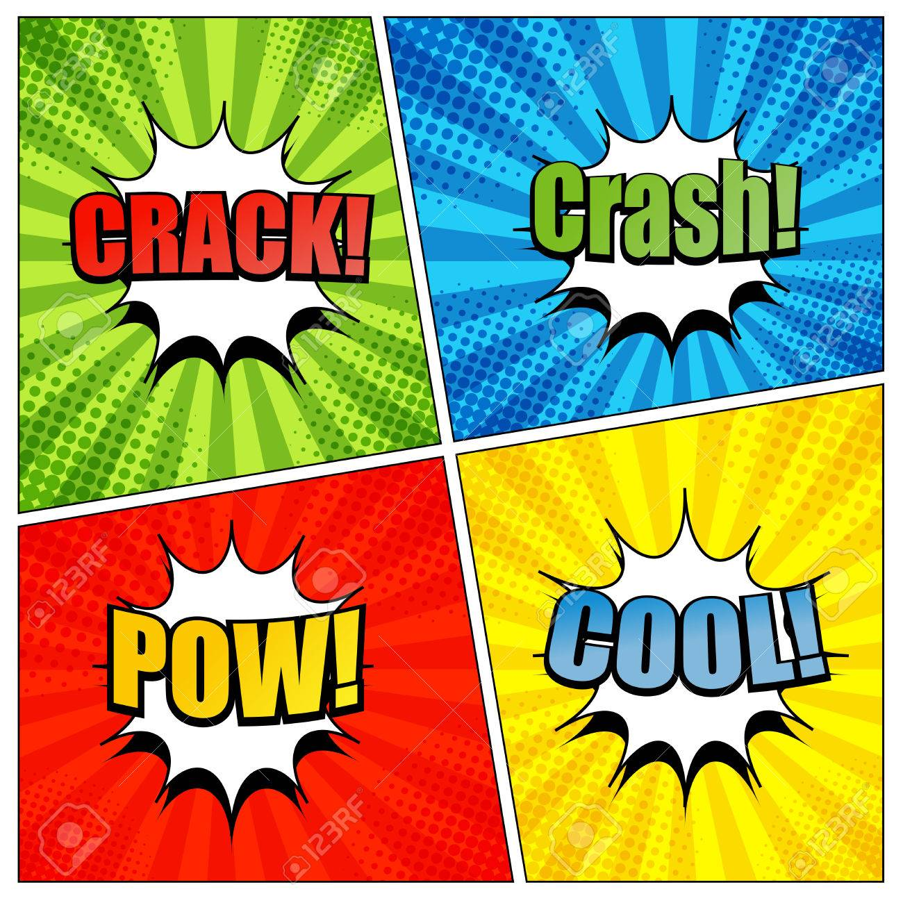 Comic book page template with colorful crack crash pow and cool