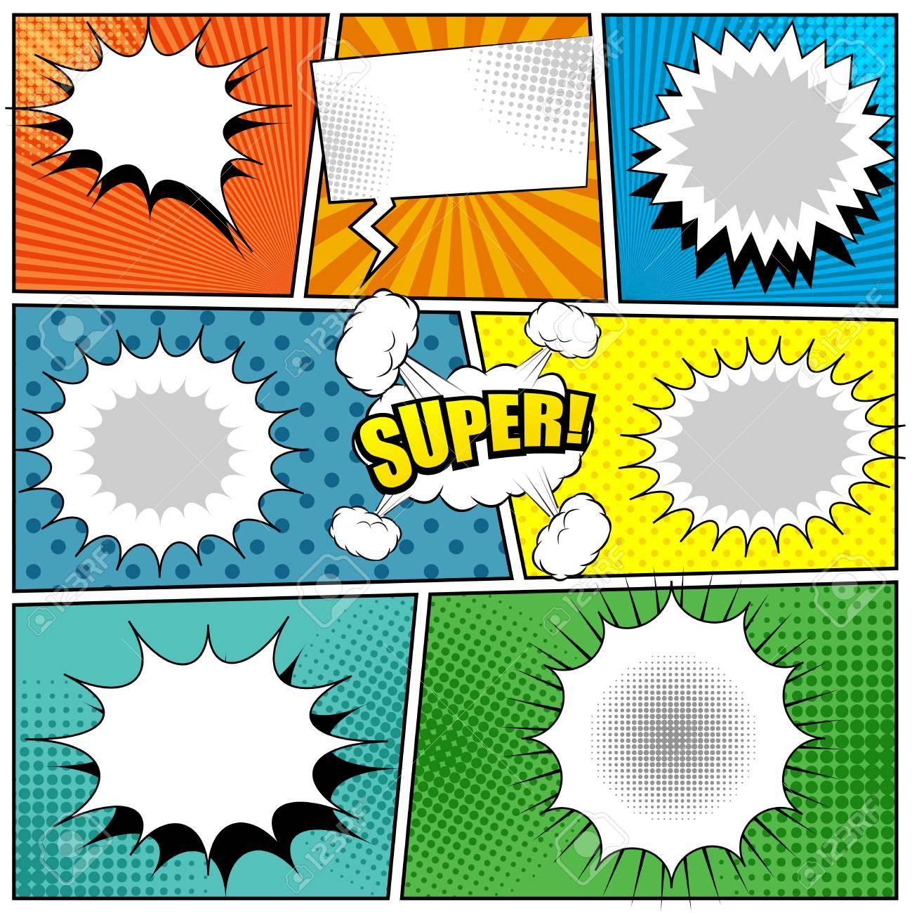 Comic Book Colorful Background With Speech Bubbles Radial Sound Halftone And Dotted Effects