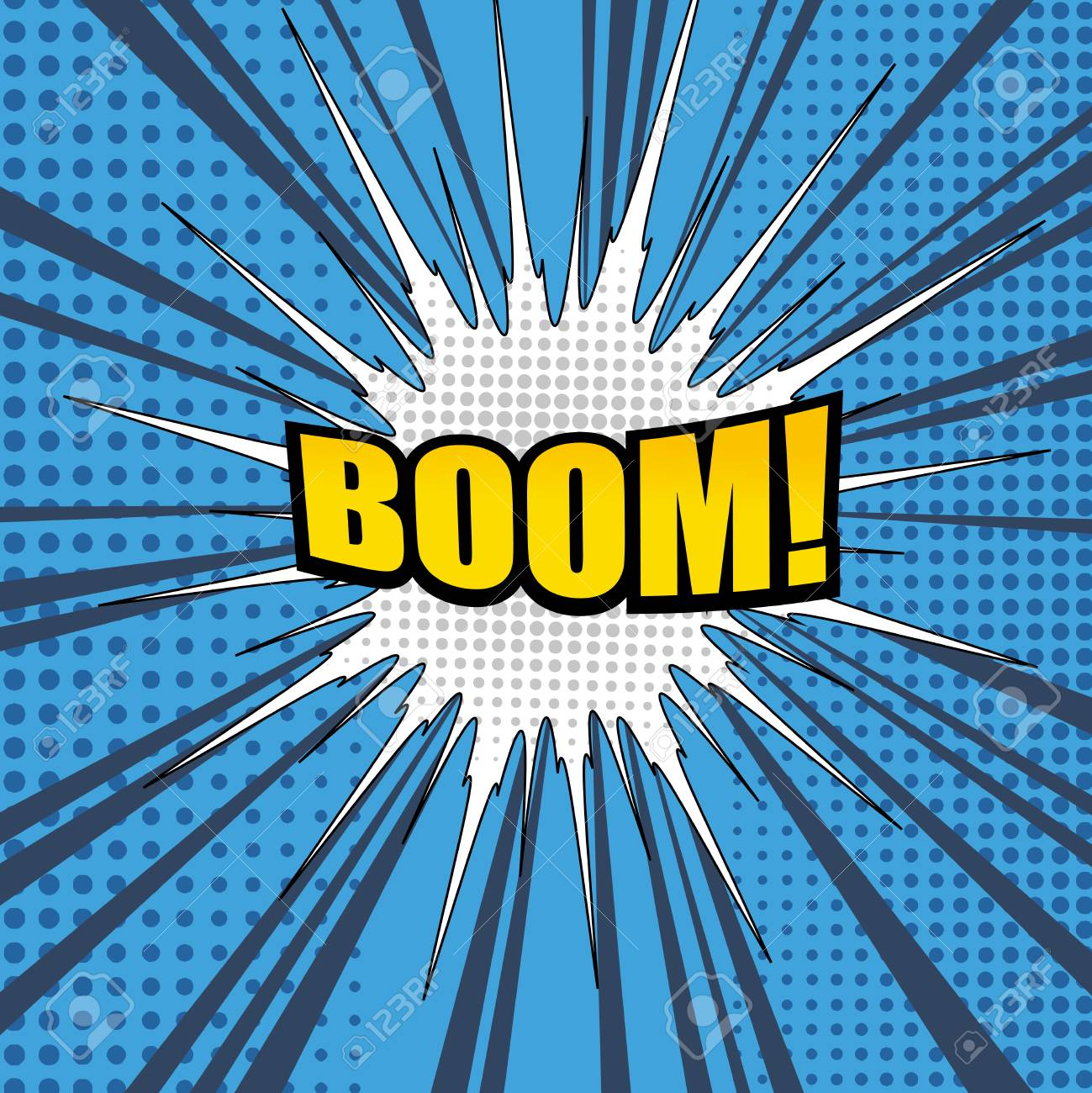 Comic Book Page Background With Yellow Boom Word Speech Cloud Halftone Effects In Pop