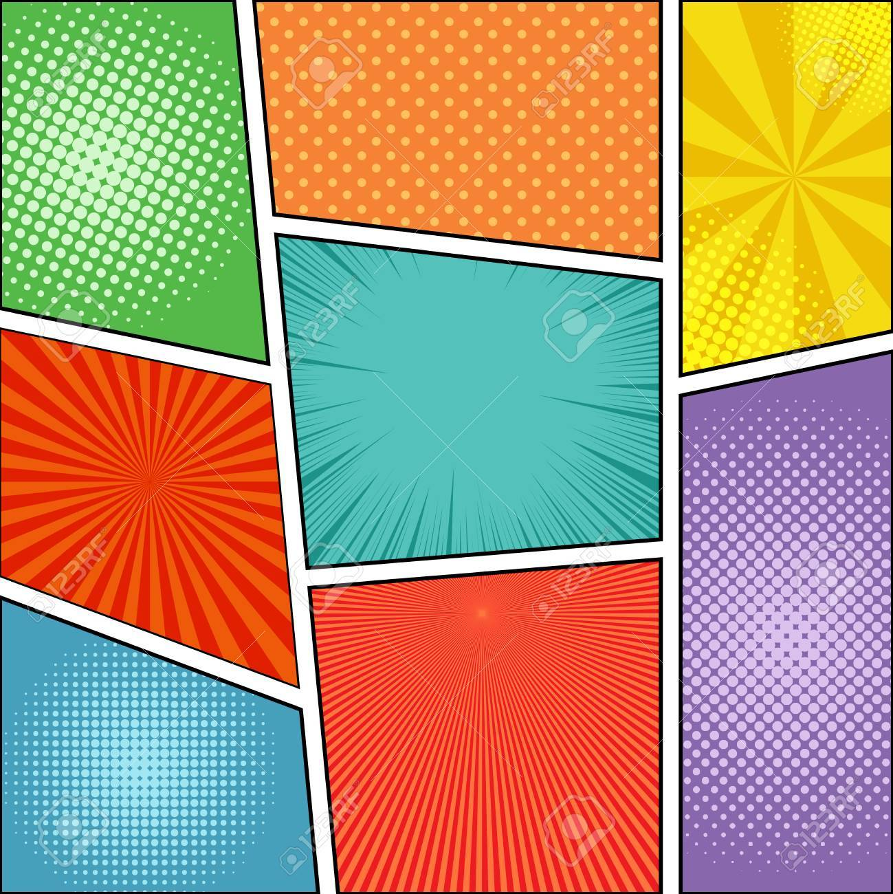 Comic Book Page Background With Rays Radial Dotted And Halftone Effects In Different Colors