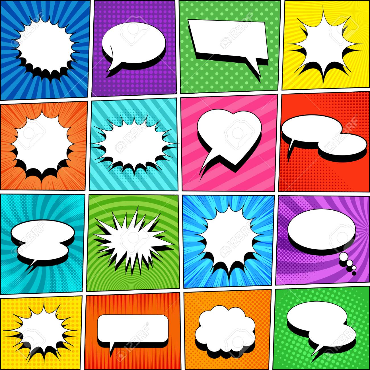 Comic Book Template With White Blank Speech Bubbles Of Different
