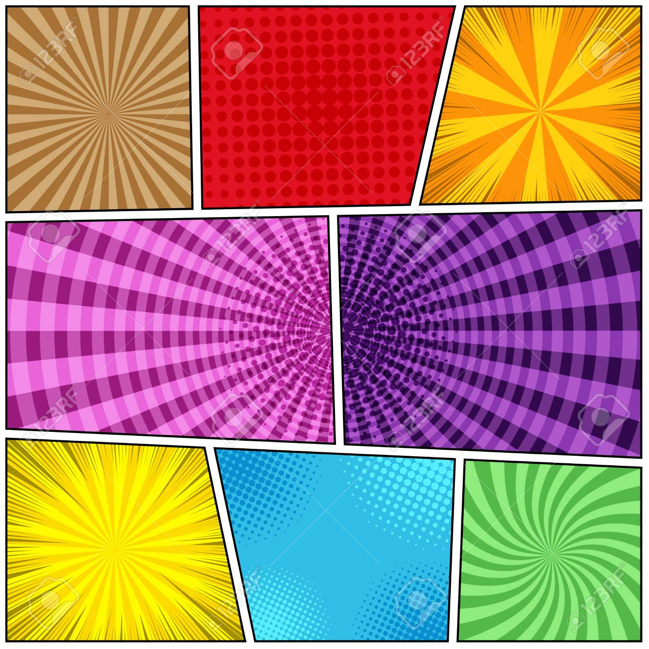 Comic Book Page Background Of Colorful Templates With Halftone ...