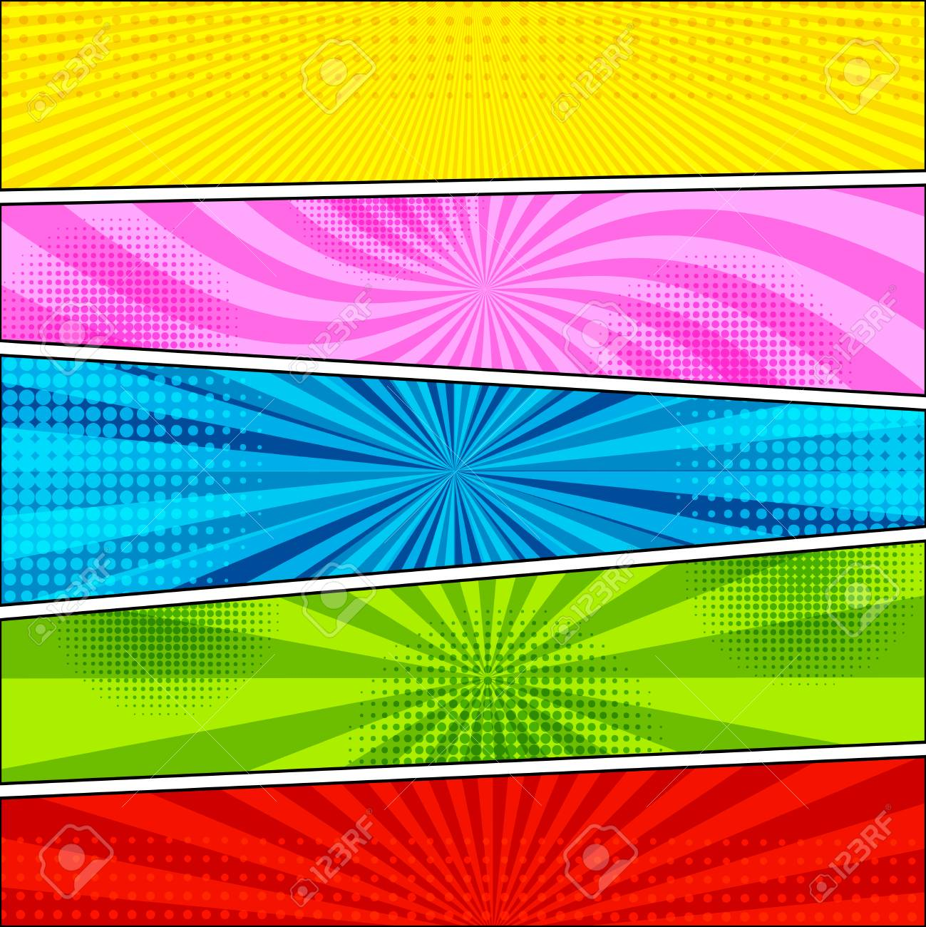 Comic Book Background With Halftone And Radial Effects In Yellow ...