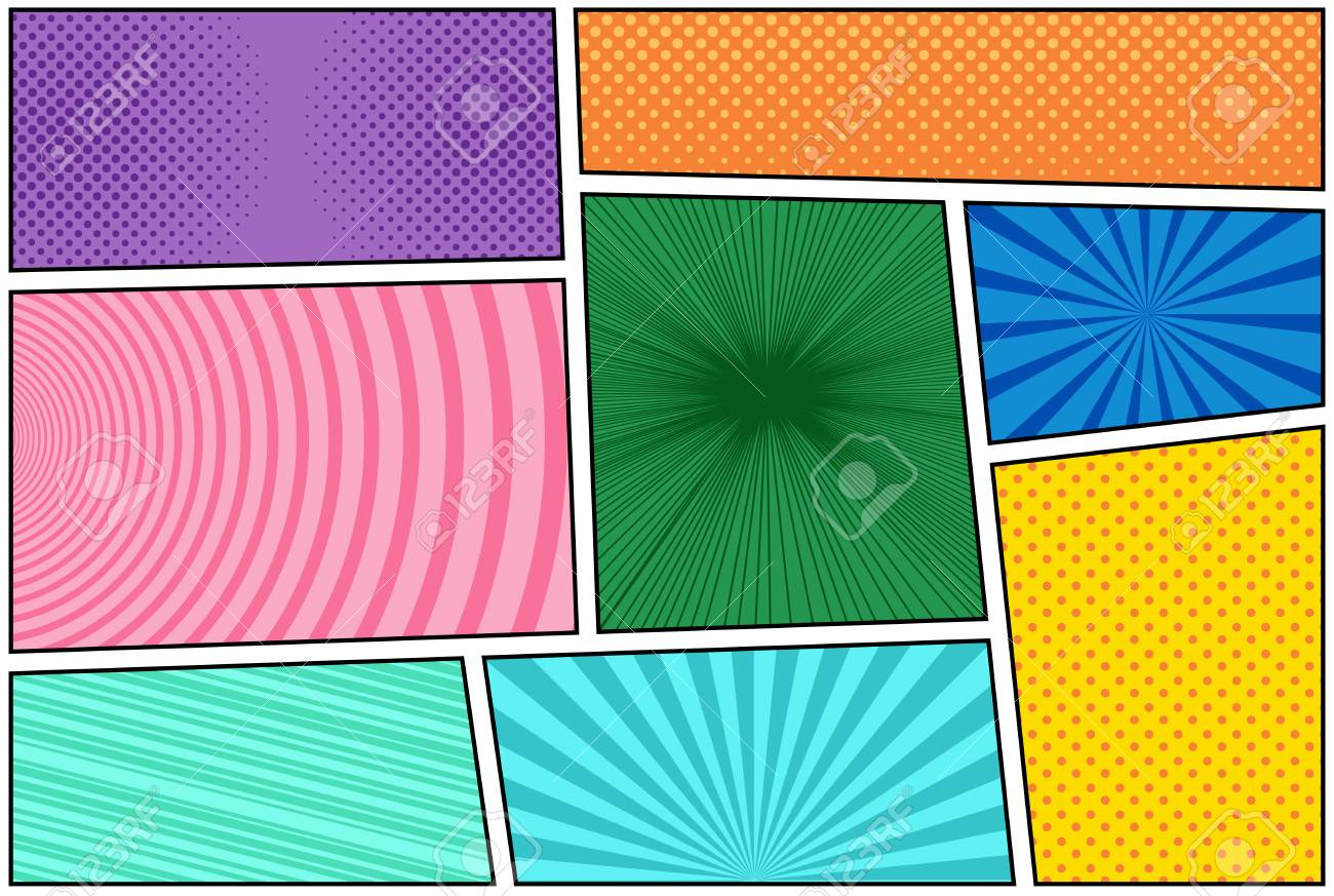 Comic Book Squares In Different Colors In Pop-art Style. Vector ...