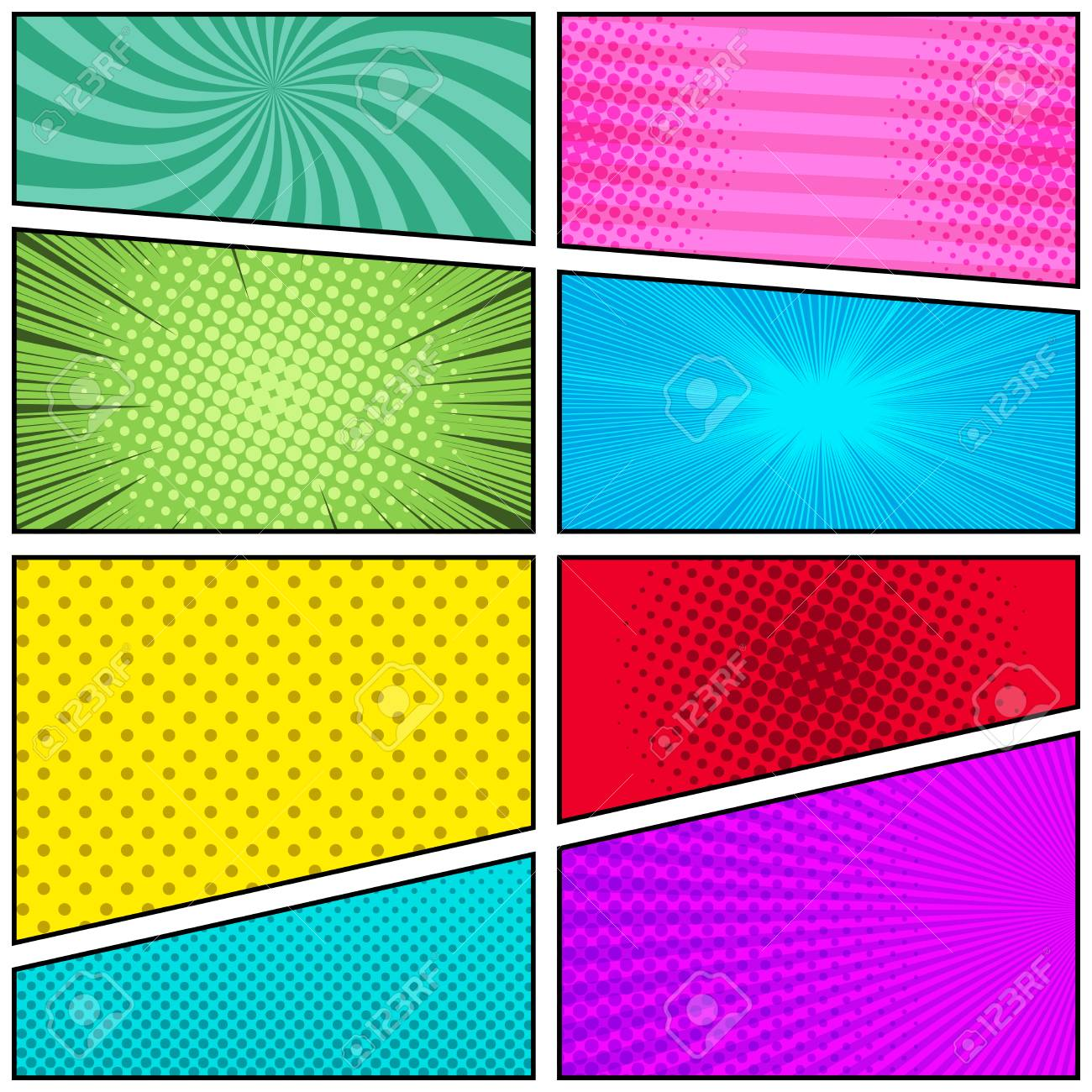 comic strip template colour  Comic book page bright template with radial rays stripes and..