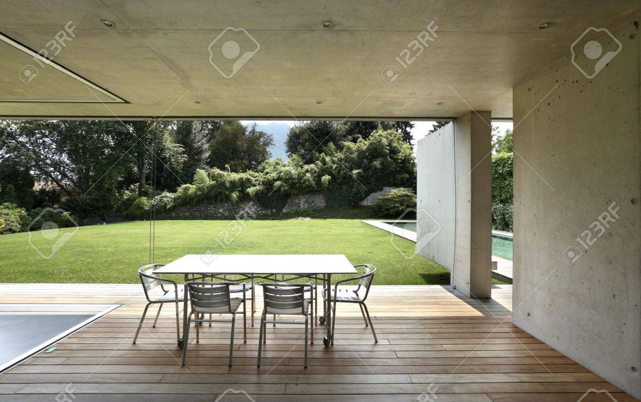 Veranda Of Modern House With Beauty Pool Stock Photo, Picture ... - ^