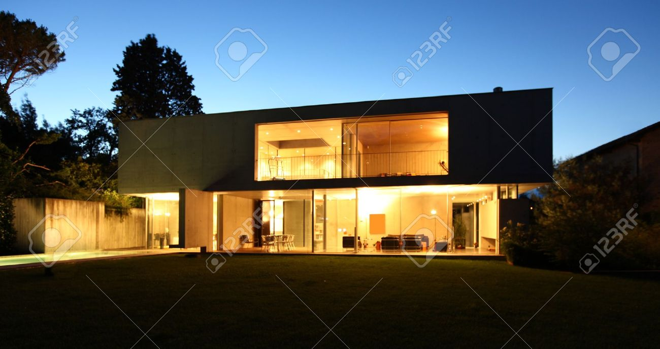 Modern House, Exterior At The Night Stock Photo, Picture And Royalty ...
