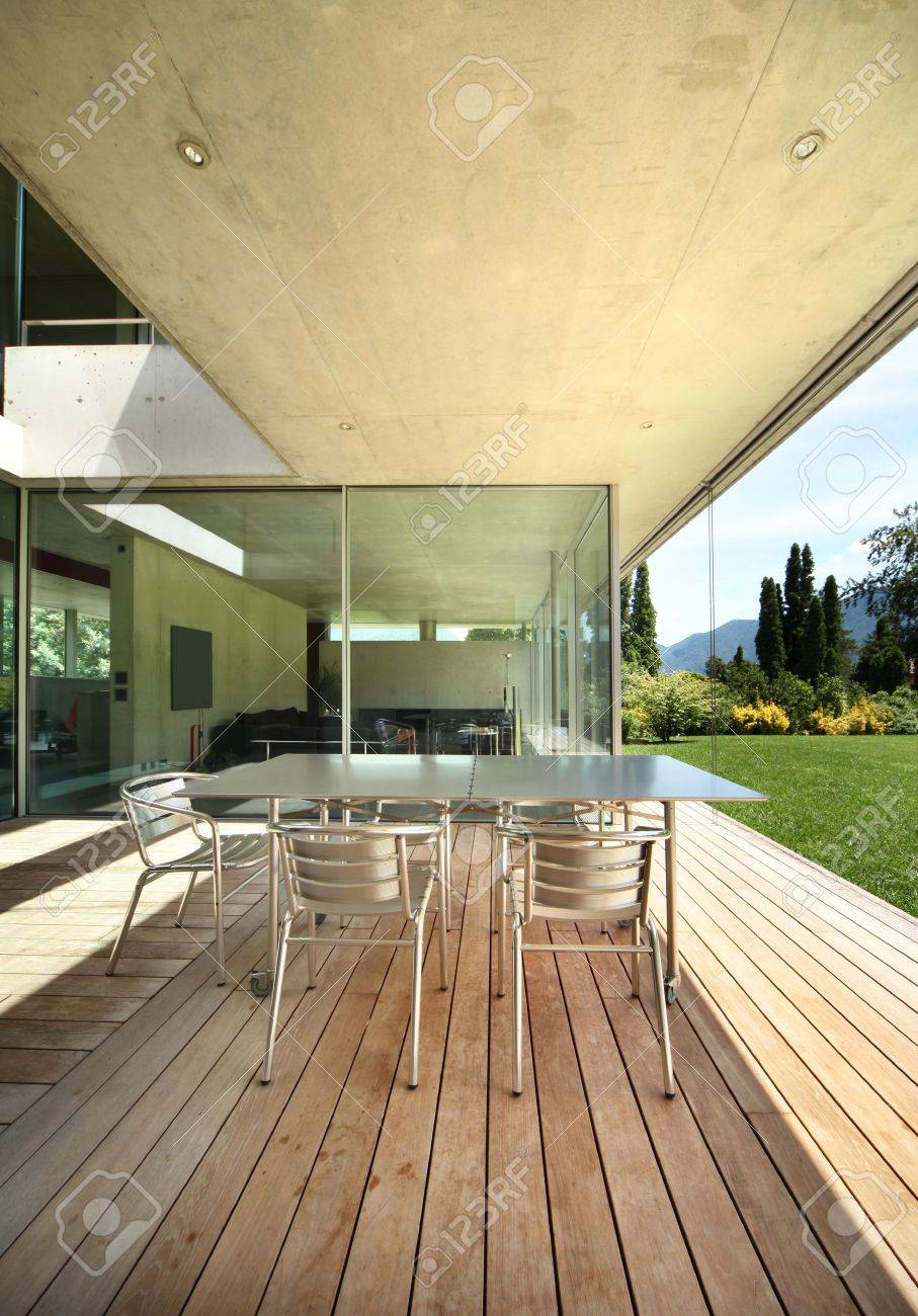 able nd hairs On he Veranda. Modern House Stock Photo, Picture ... - ^