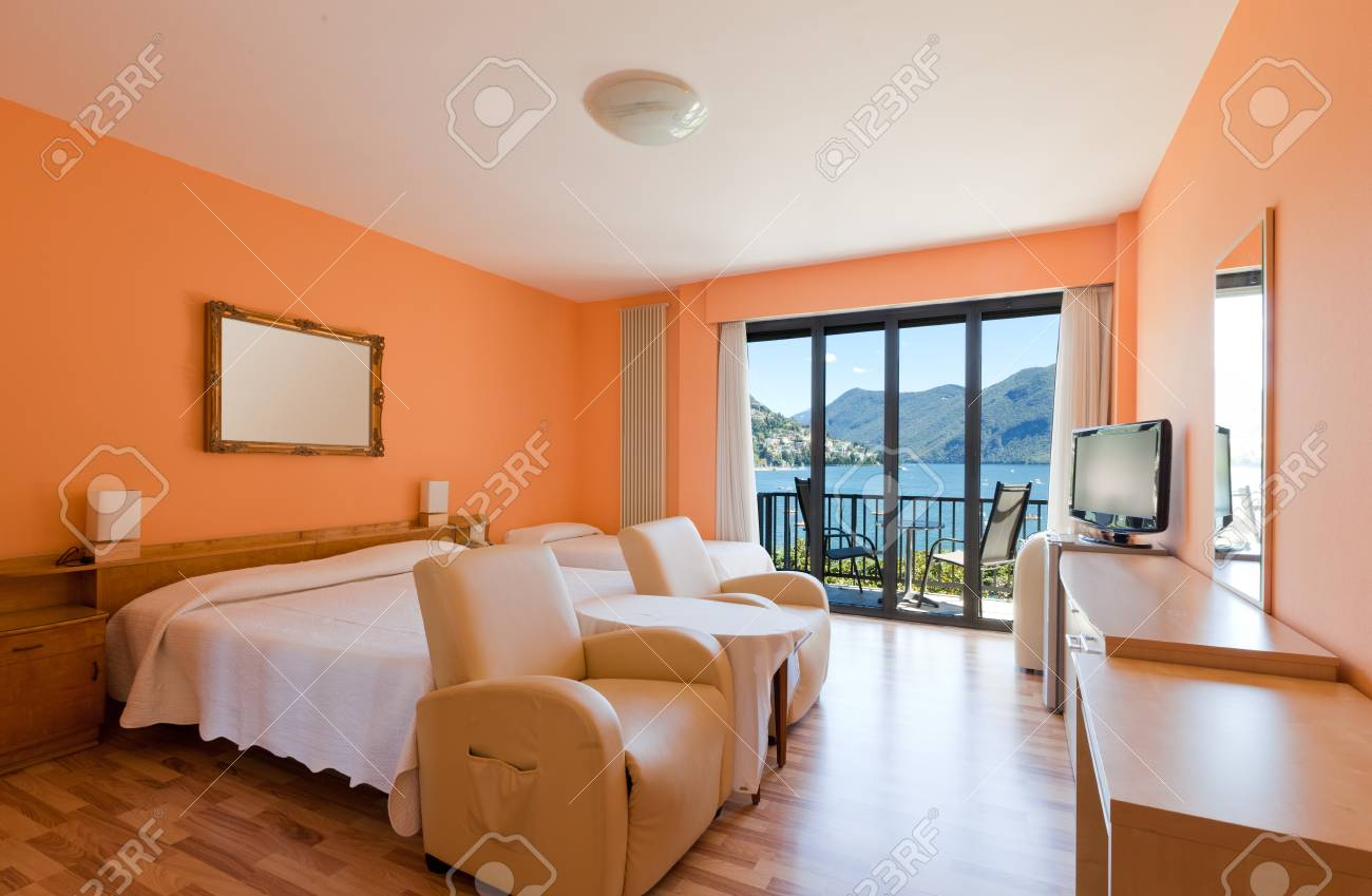 hotel room with exceptional views of the lake and mountains Stock Photo - 22549273