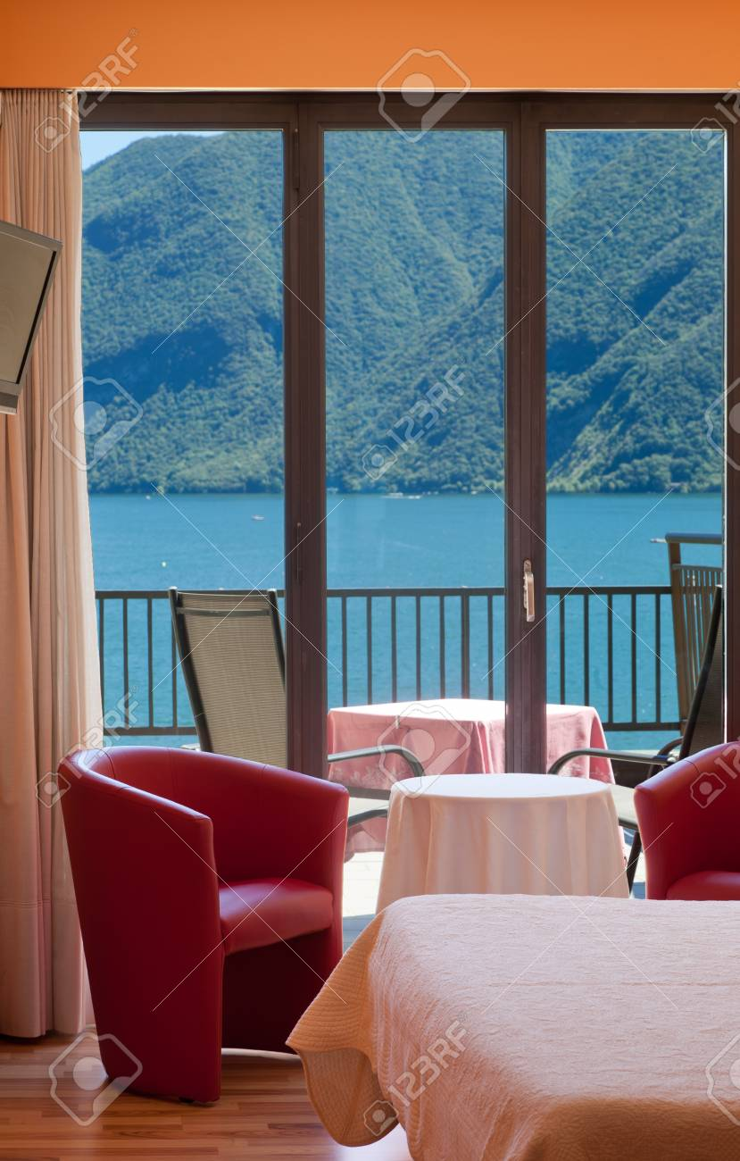 hotel room with exceptional views of the lake and mountains Stock Photo - 22541642