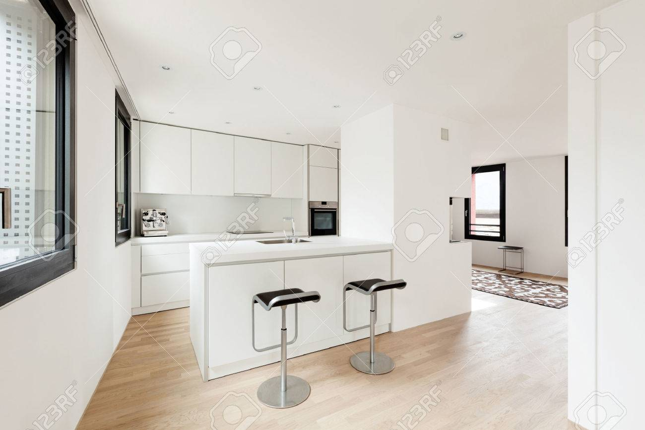 Interior New House, Modern White Kitchen Stock Photo, Picture And ...