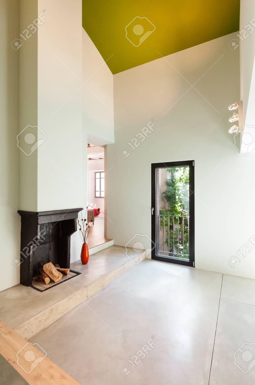 Beautiful modern house; view room with fireplace Stock Photo - 22805853