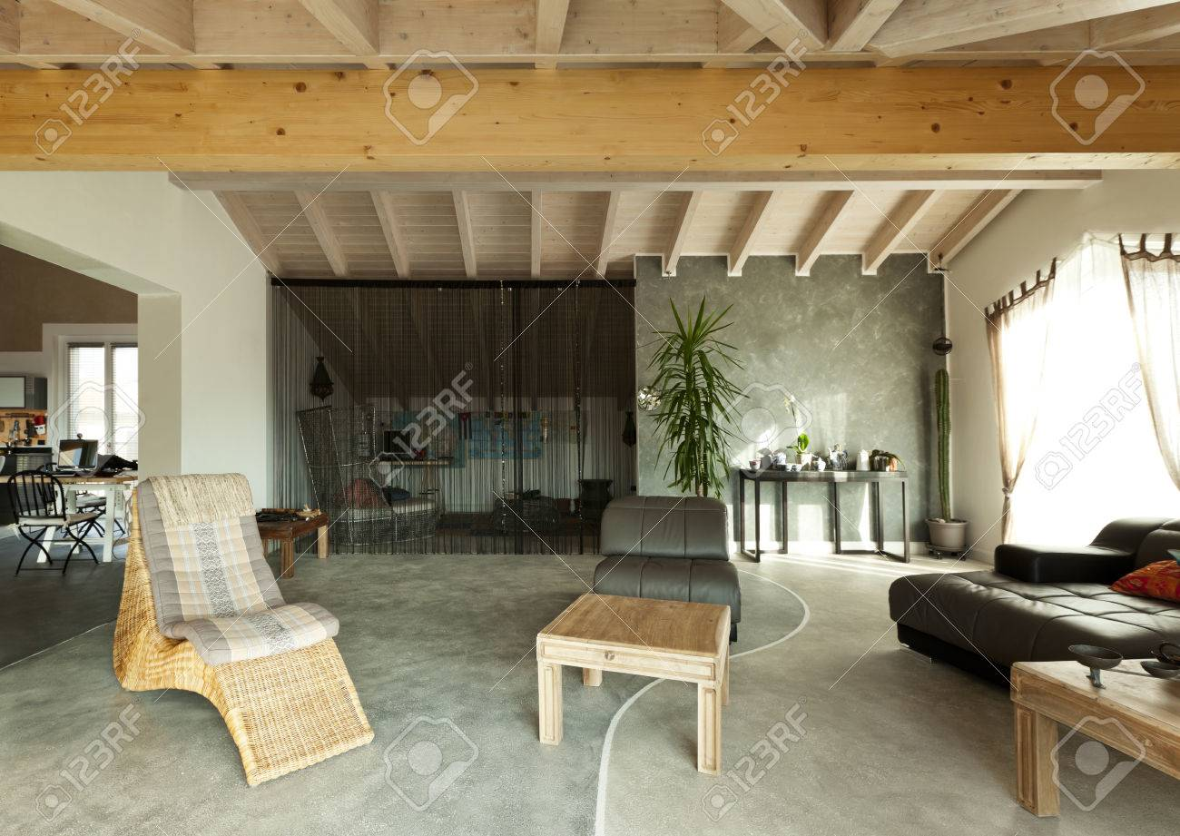 Interior New Loft, Ethnic Furniture, Living Room Stock Photo   23448714