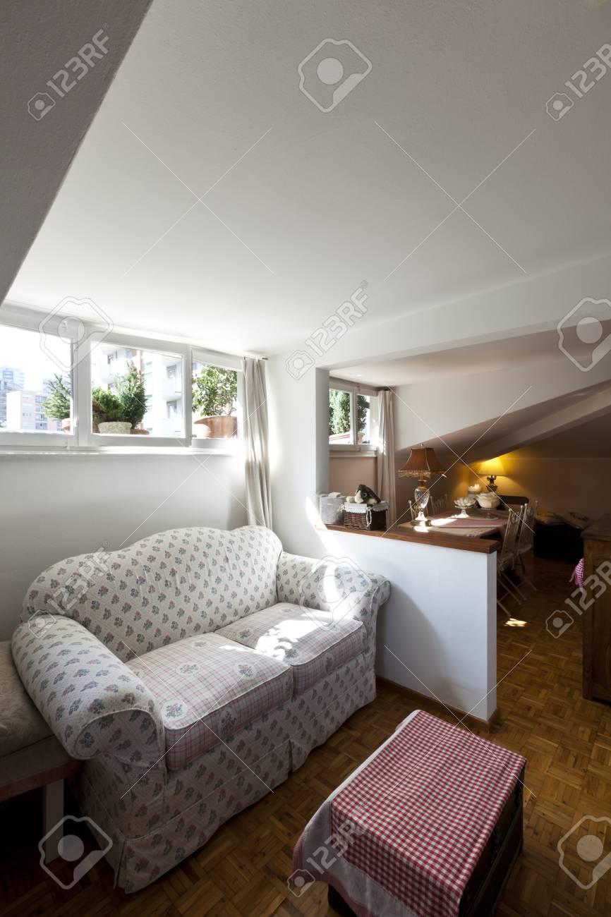 interior apartment, small loft furnished, livingroom Stock Photo - 23448719