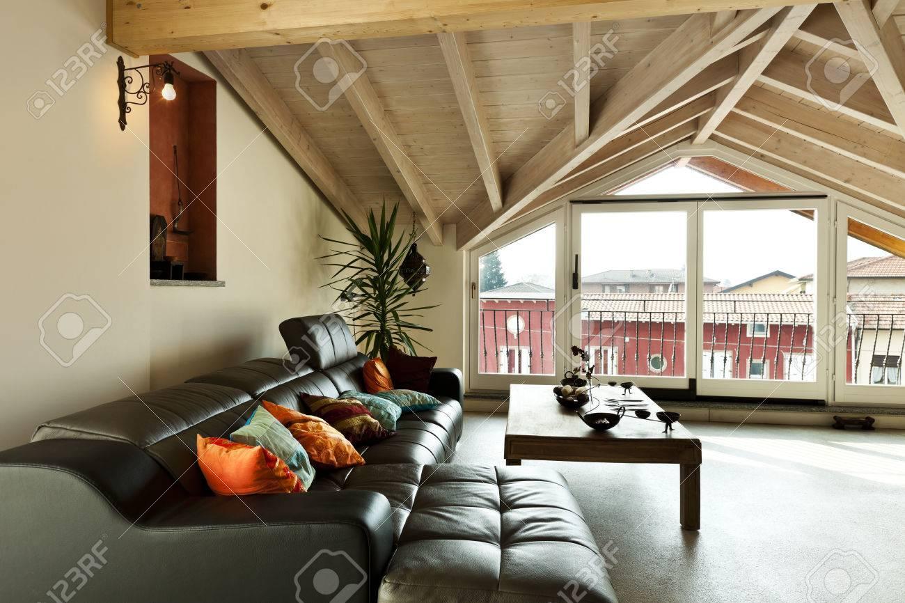 Innen Neue Loft Ethnische Mobel Wohnzimmer Lizenzfreie Fotos