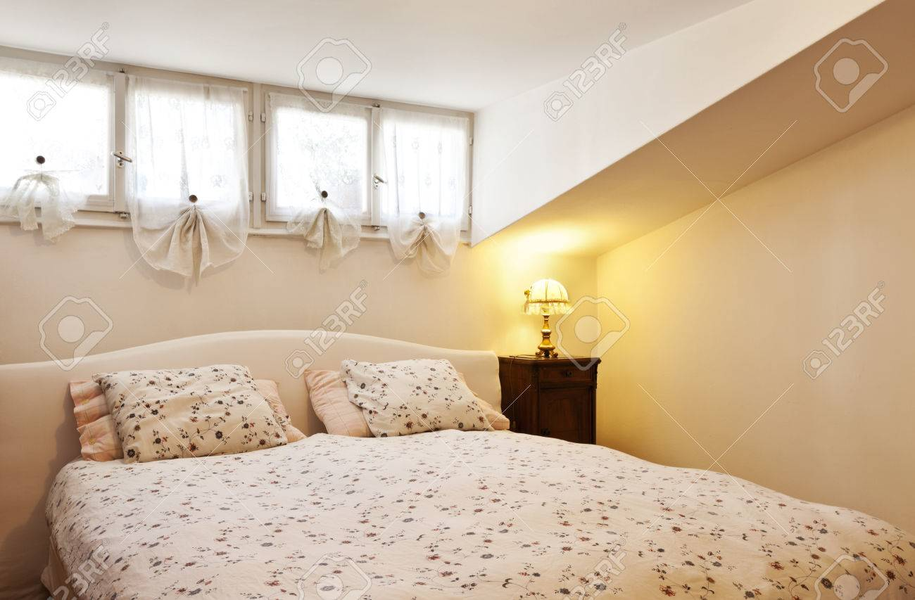 Interior Apartment, Small Loft Furnished, Bedroom Stock Photo ...