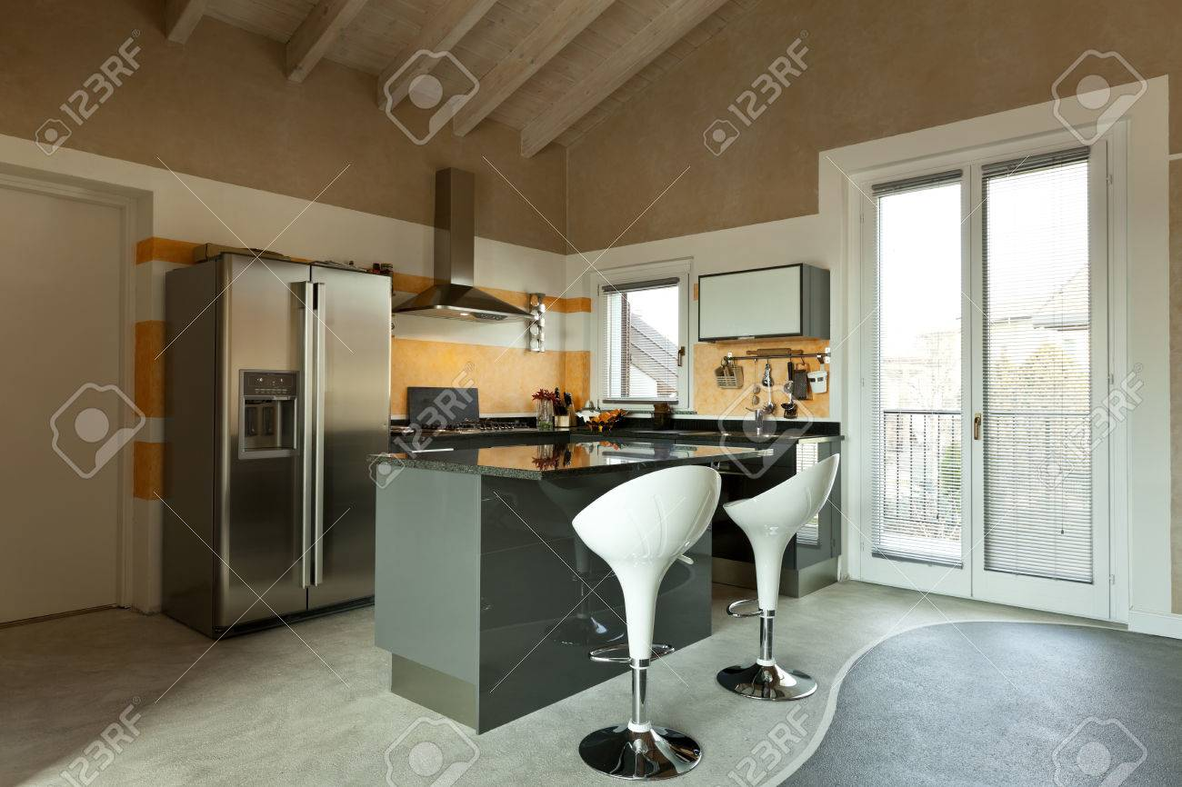 Innenraum, Neue Loft Möbliert, Küche Insel Mit Zwei Stühlen ...