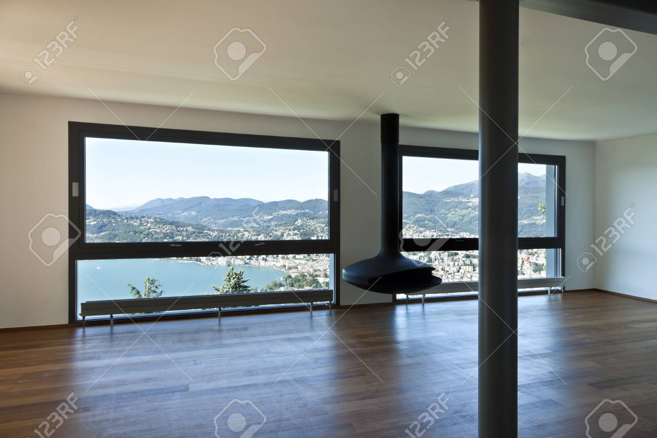 Modern apartment, large living room with panoramic view Stock Photo - 23526831