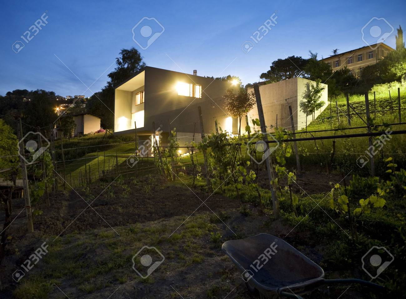 Modern house surrounded by nature outdoors stock photo 23570621