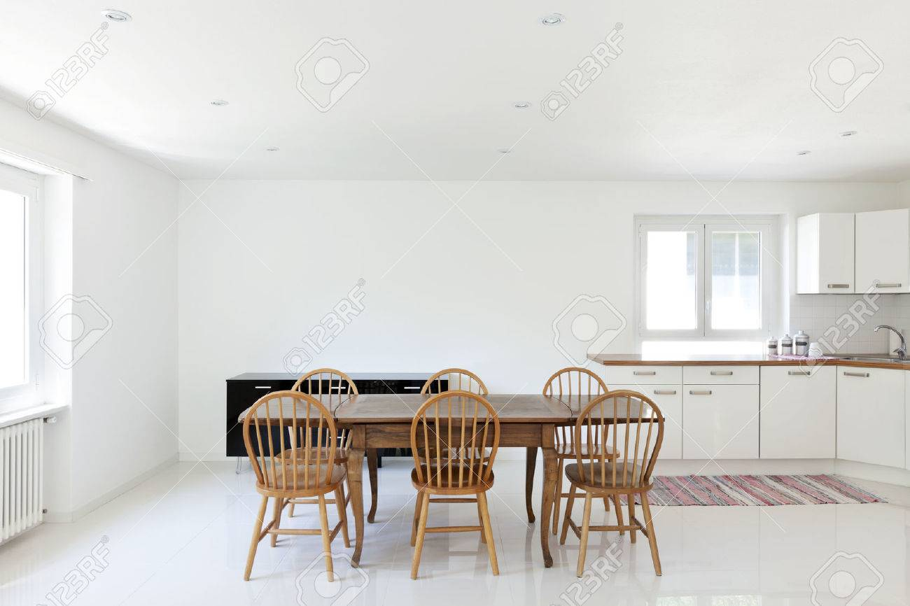 Interior House, Large Modern Kitchen, Dining Table Stock Photo ...