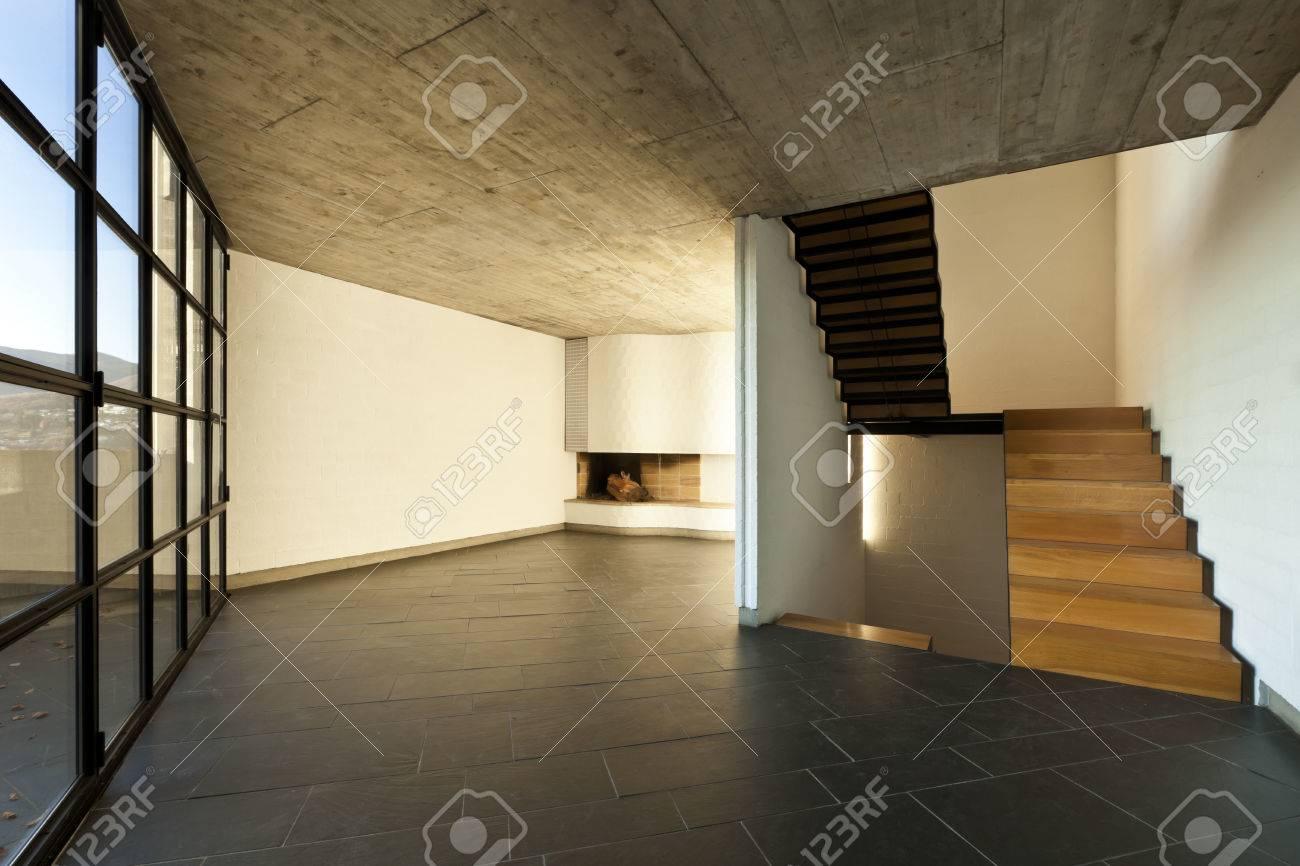 High Quality Banque Du0027images   Intérieur Villa Moderne, Escalier En Bois Dans Un Salon