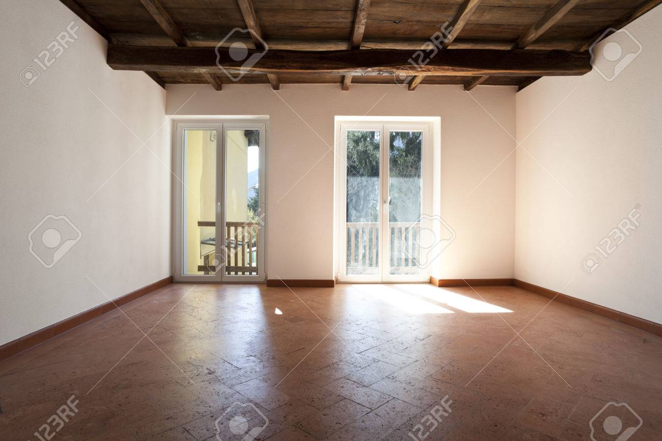 Rustic House Interior Empty Space Is Not Furnished Stock Photo