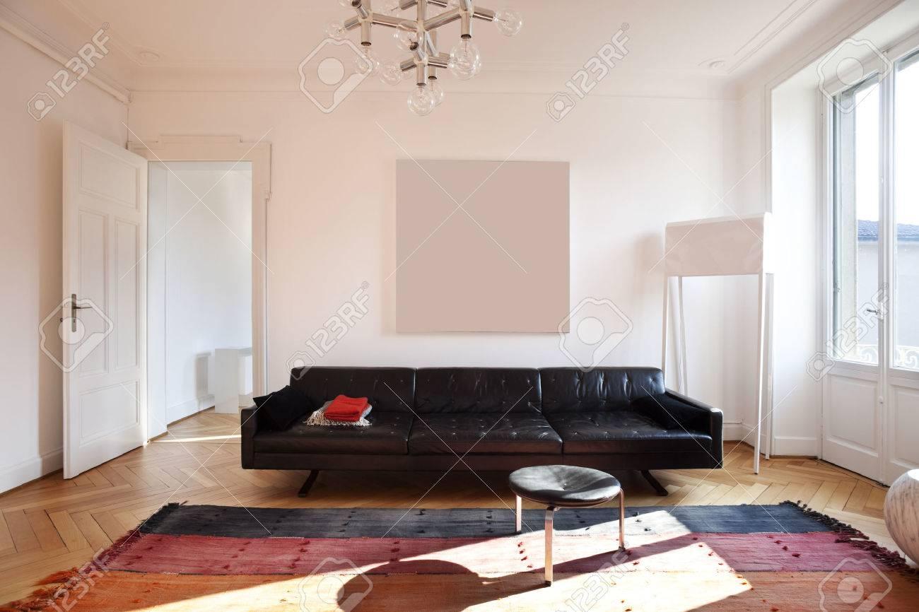 Vintage appartement ingericht, woonkamer royalty vrije foto ...