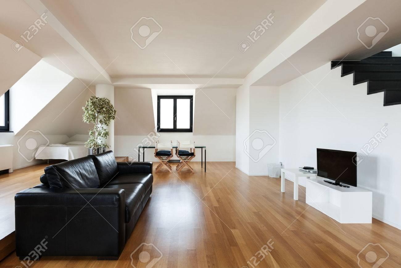Interior, Beautiful Loft, Hardwood Floor, View Living Room Stock ...