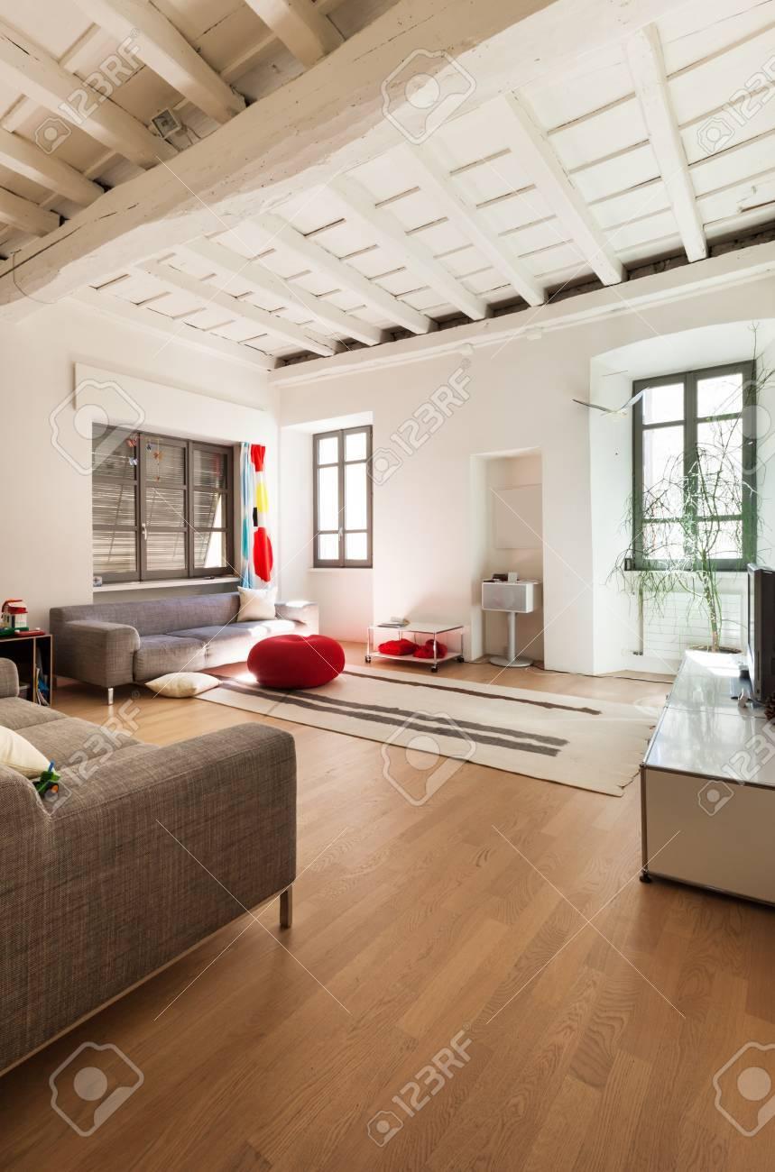 Belle maison moderne, intérieur rustique, salon