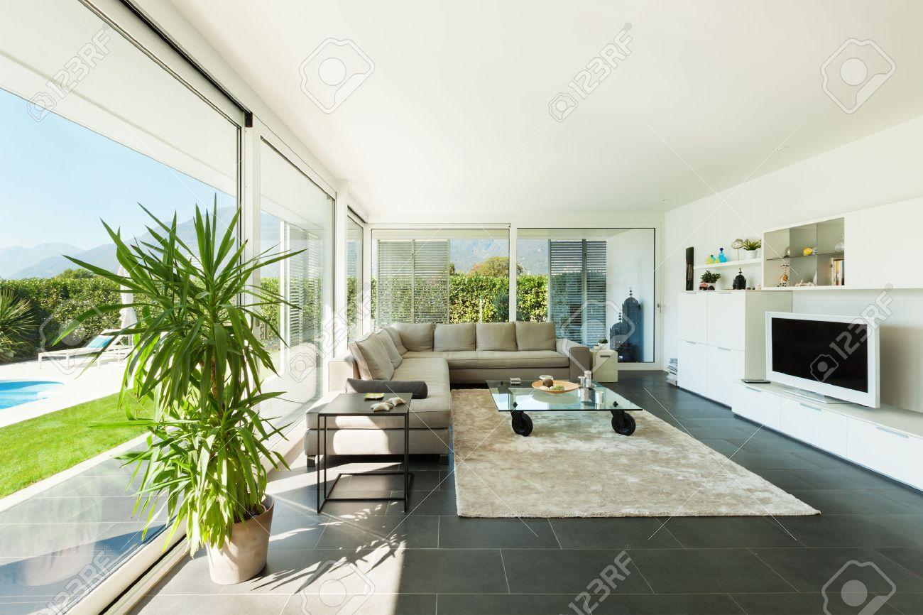 Modern villa interior beautiful living room stock photo picture