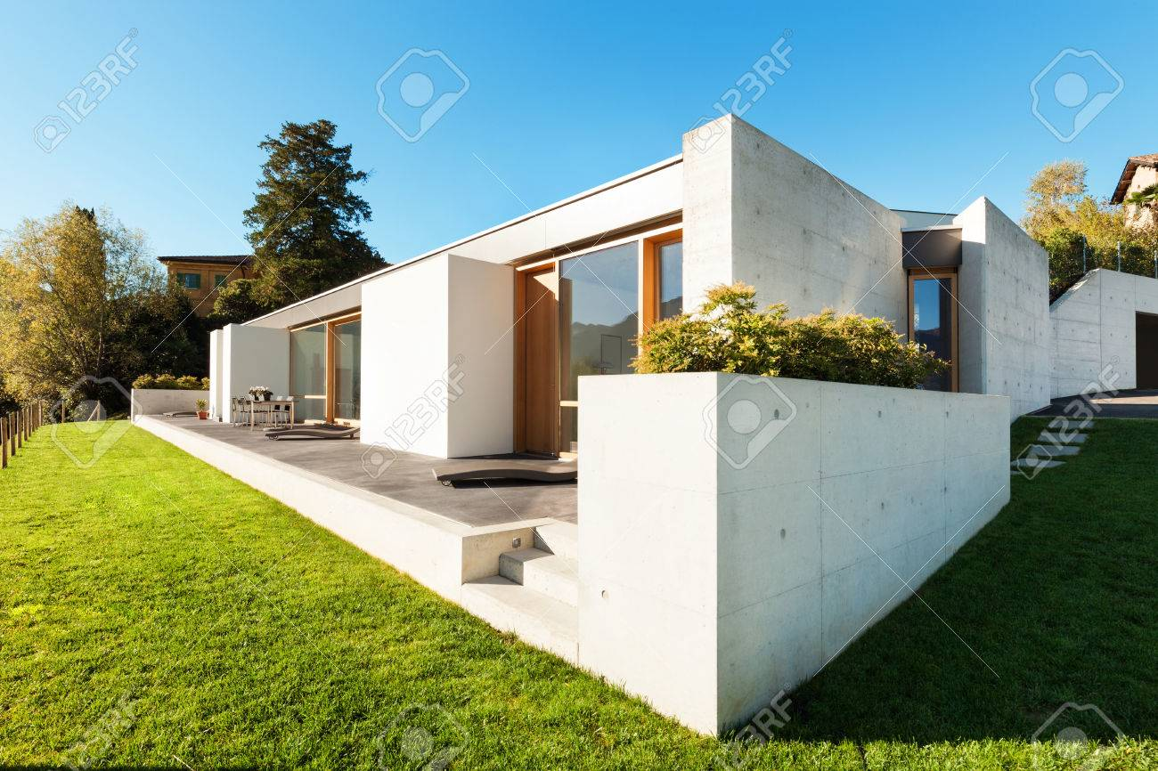 Beautiful Modern House In ement, View From he Garden Stock Photo ... - ^