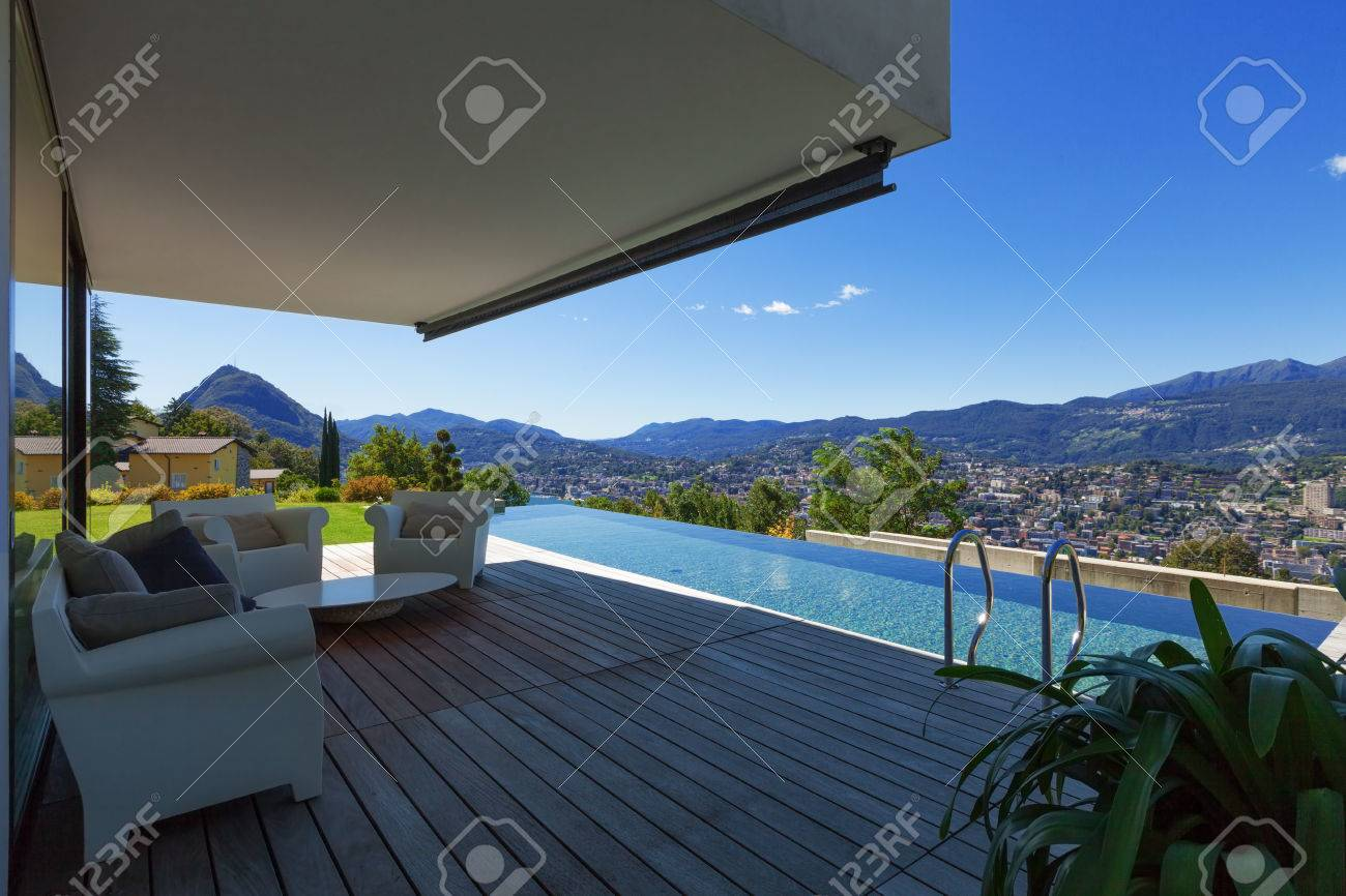 Modern House With Infinity Pool In Exterior Stock Photo Picture