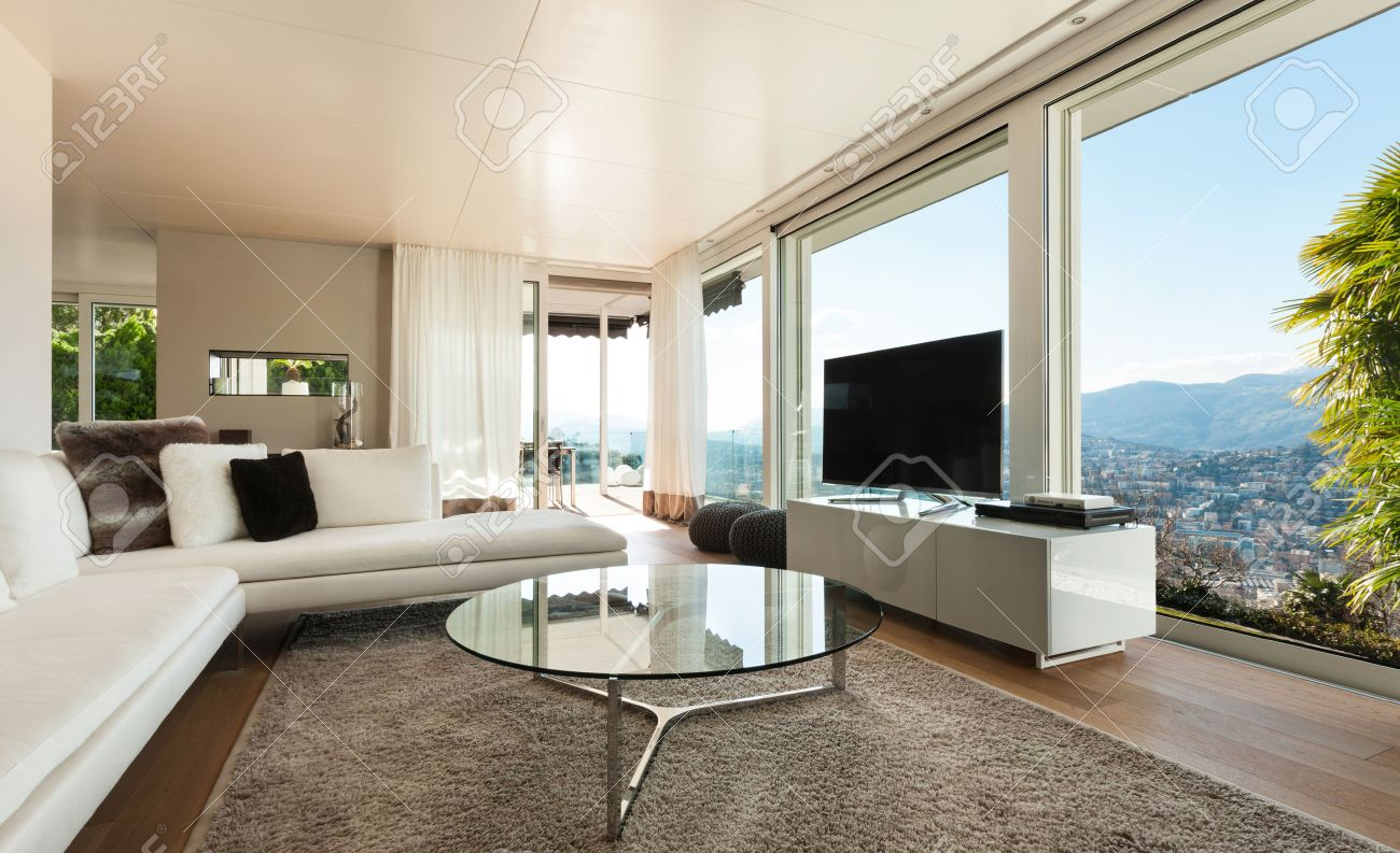 Schönes Interieur Eines Modernen Hauses Wohnzimmer Lizenzfreie