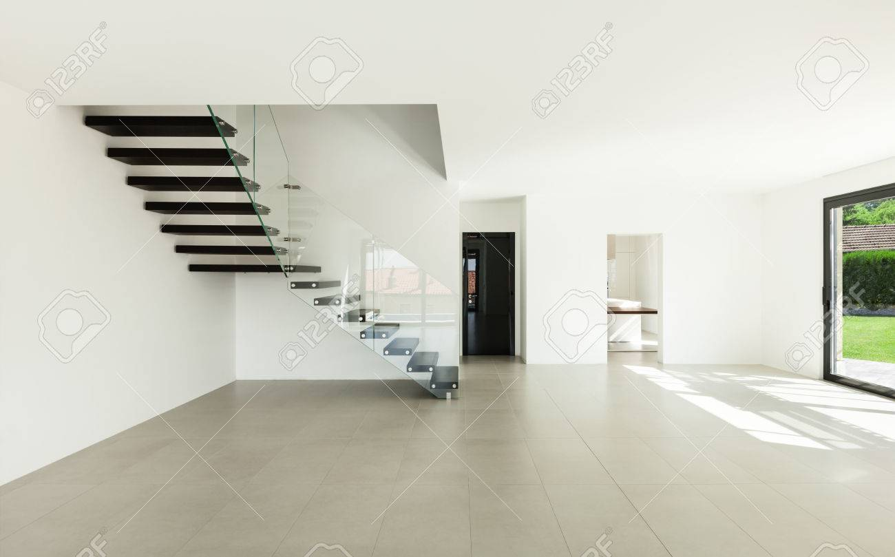Wide Empty Living Room, Interior Of A Modern House Stock Photo ...