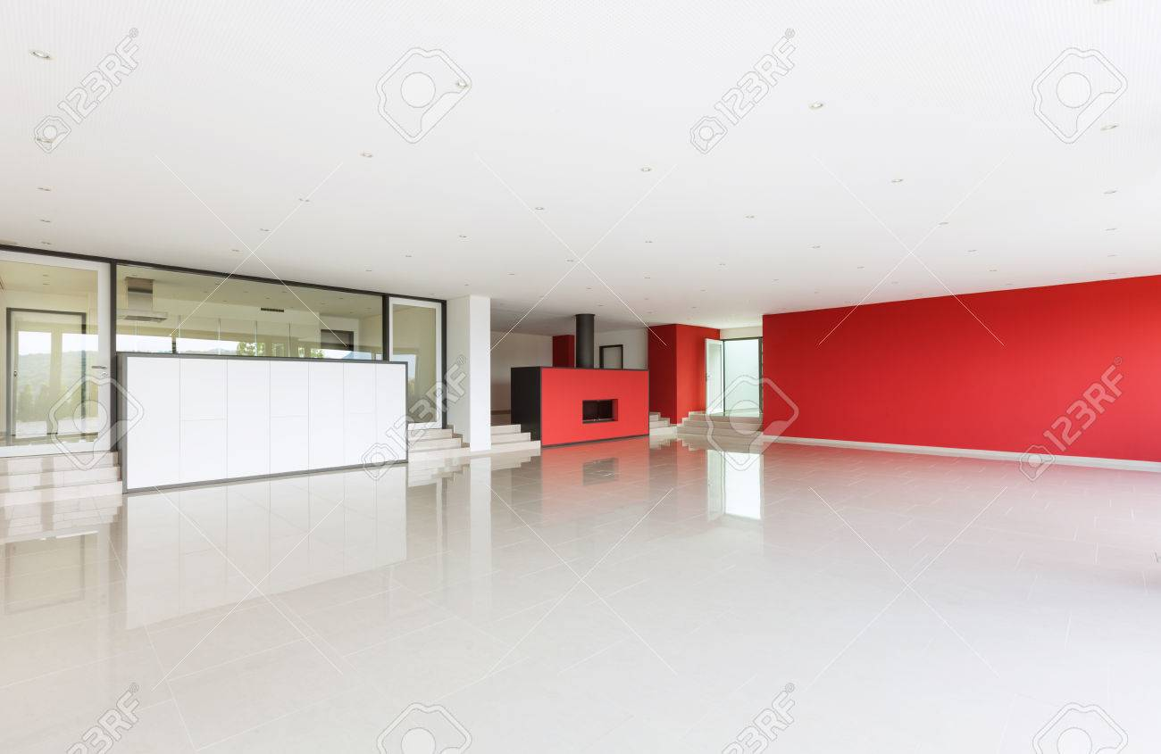 Interior Modern Villa, Wide Living Room, Red Walls Stock Photo ...