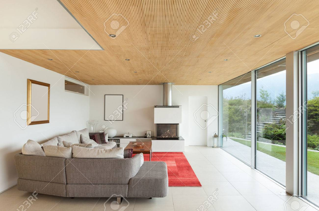 Mountain House, Modern Architecture, Interior, Living Room Stock Photo    34092144