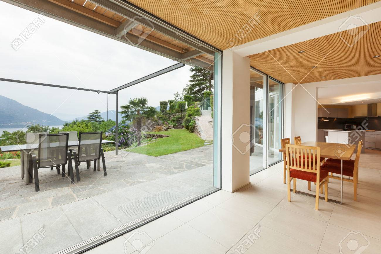 Mountain House, Modern Architecture, Interior, Dining Room, Veranda View  Stock Photo