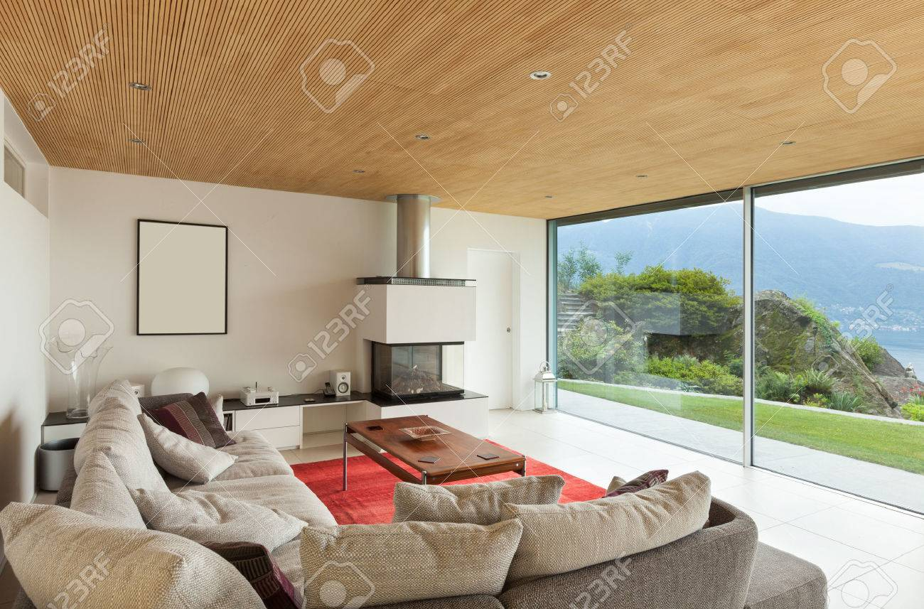 Mountain House, Modern Architecture, Interior, Living Room Stock Photo    34092271