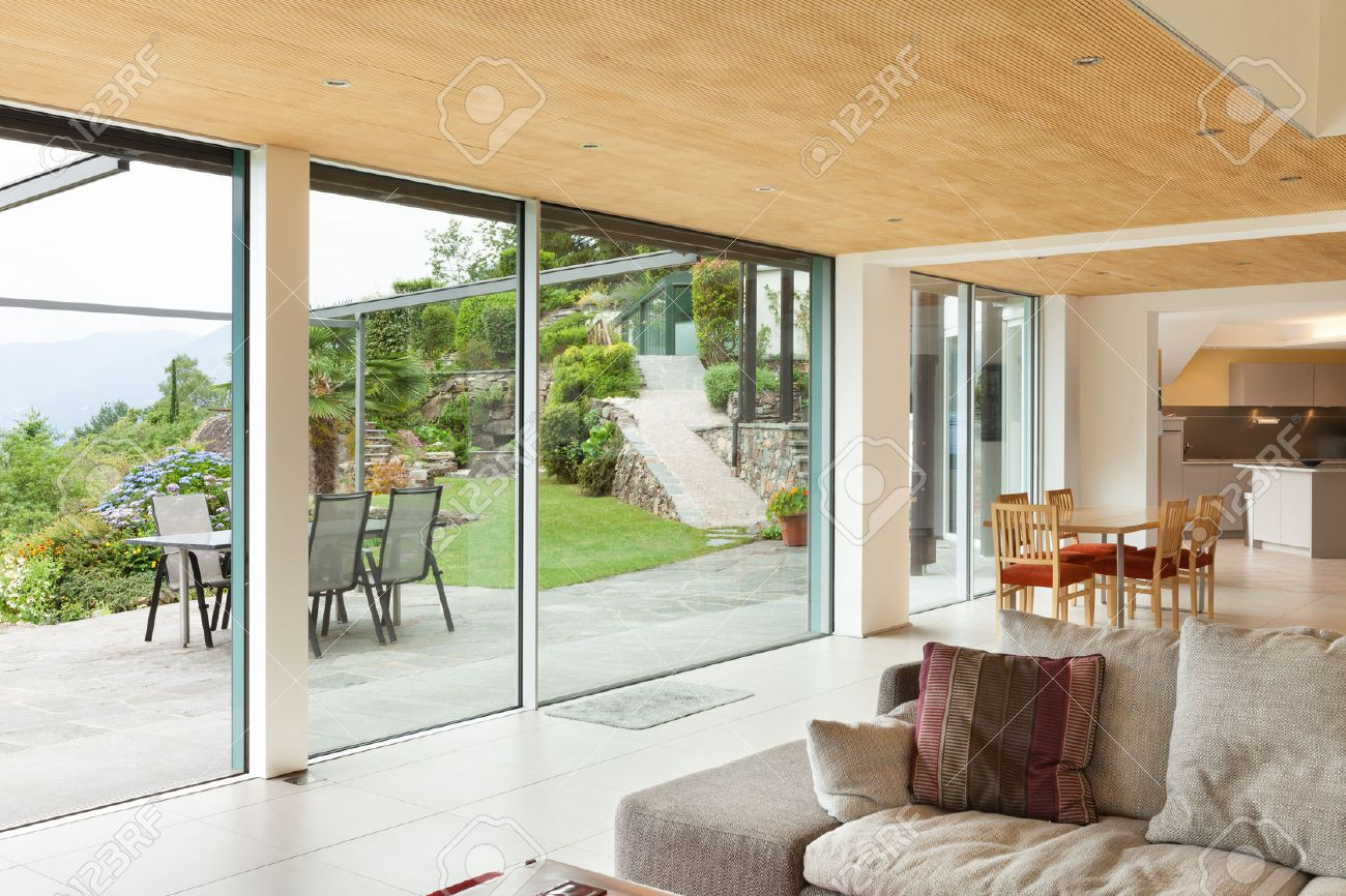 Mountain House, Modern Architecture, Interior, Living Room, Veranda View  Stock Photo