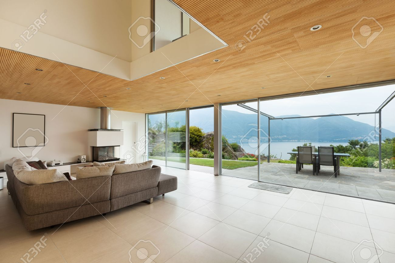 Mountain House, Modern Architecture, Interior, Living Room Stock Photo    34092280