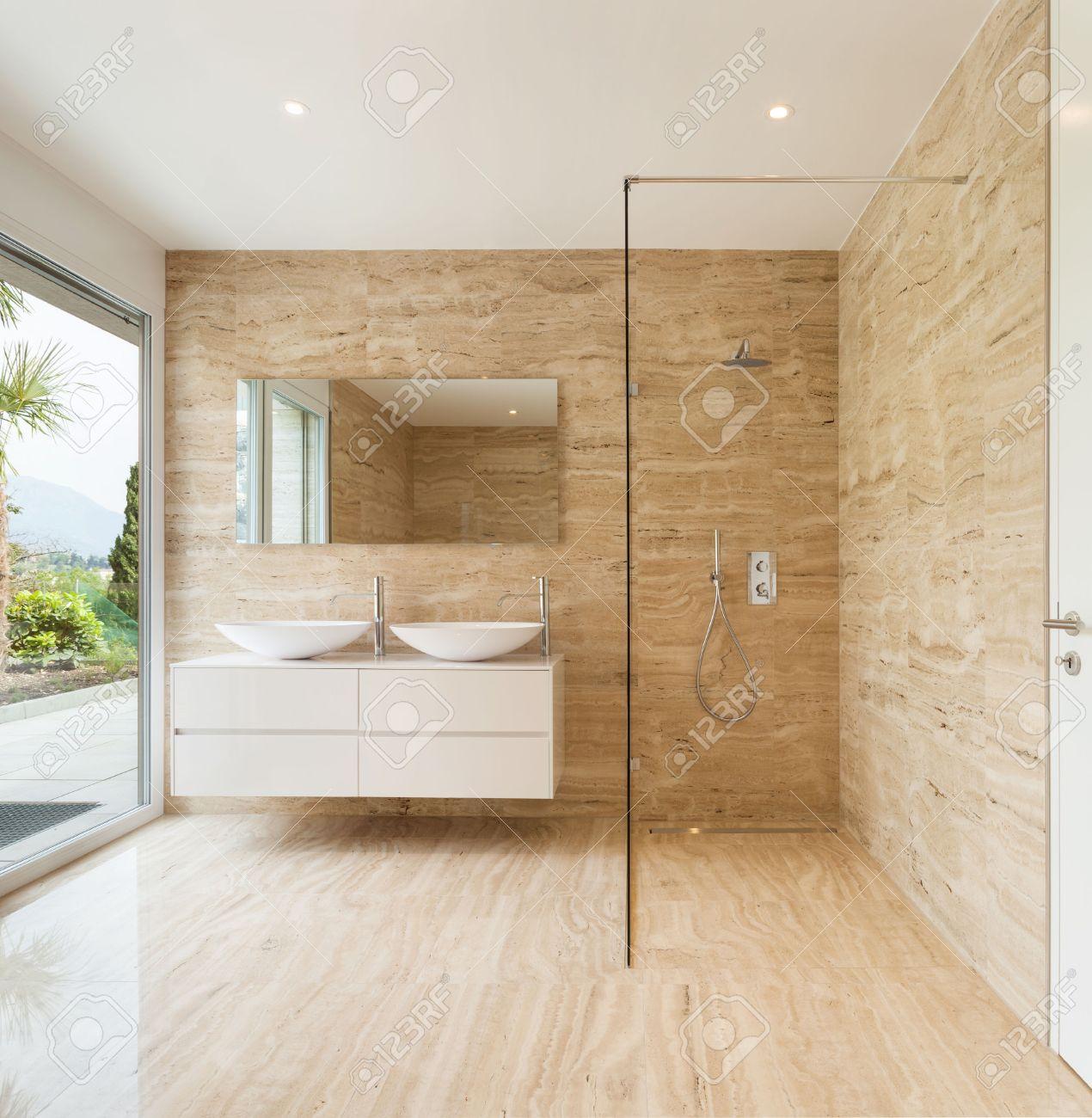 Nice Modern Bathroom Going To Die Marble Walls Stock Photo   33885616