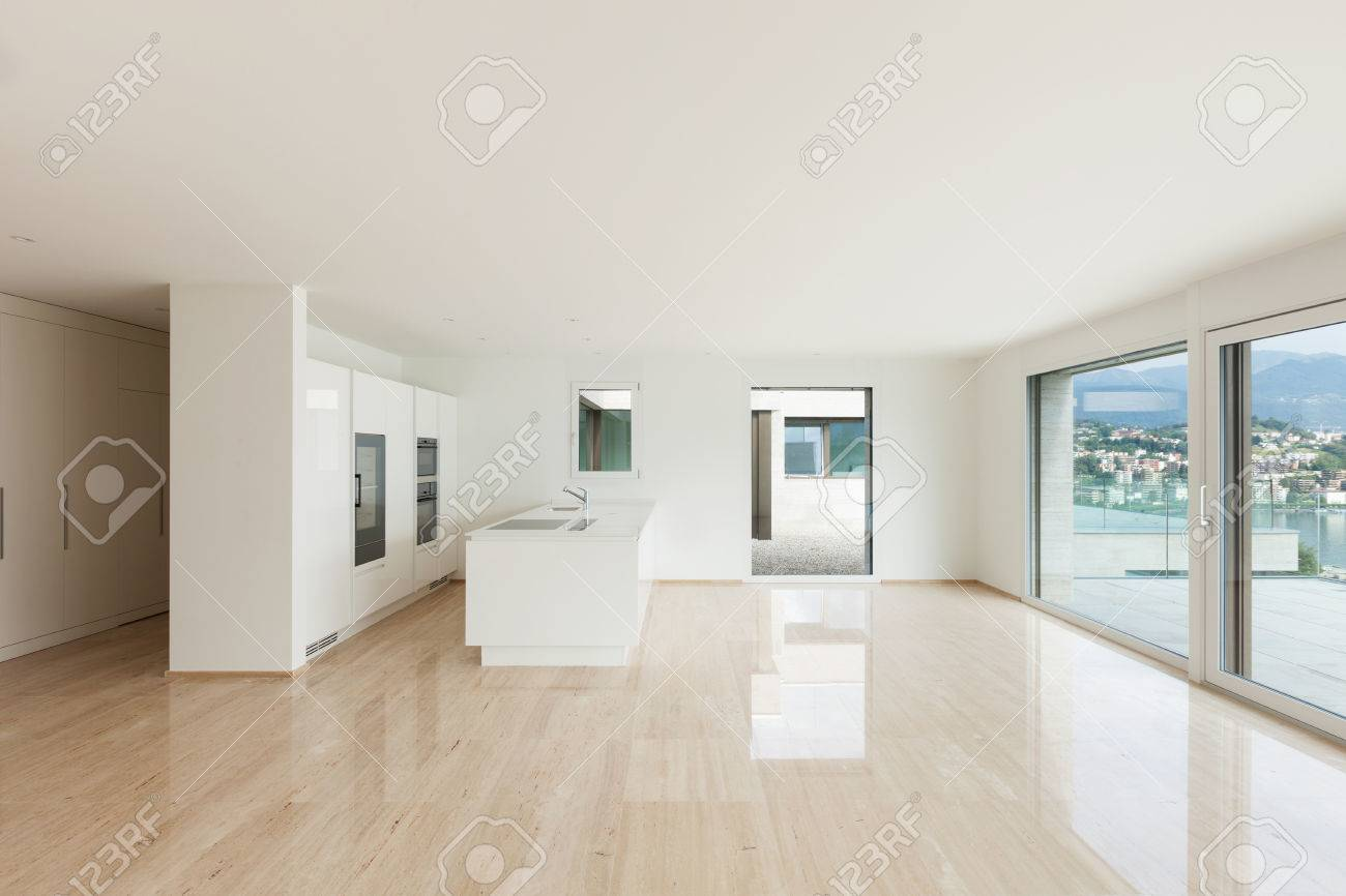 Beautiful Empty Apartment With Marble Floor, Modern Kitchen Stock Photo