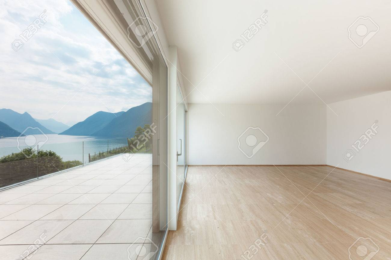 Big Empty Living Rooms - Interior modern penthouse empty living room with large window