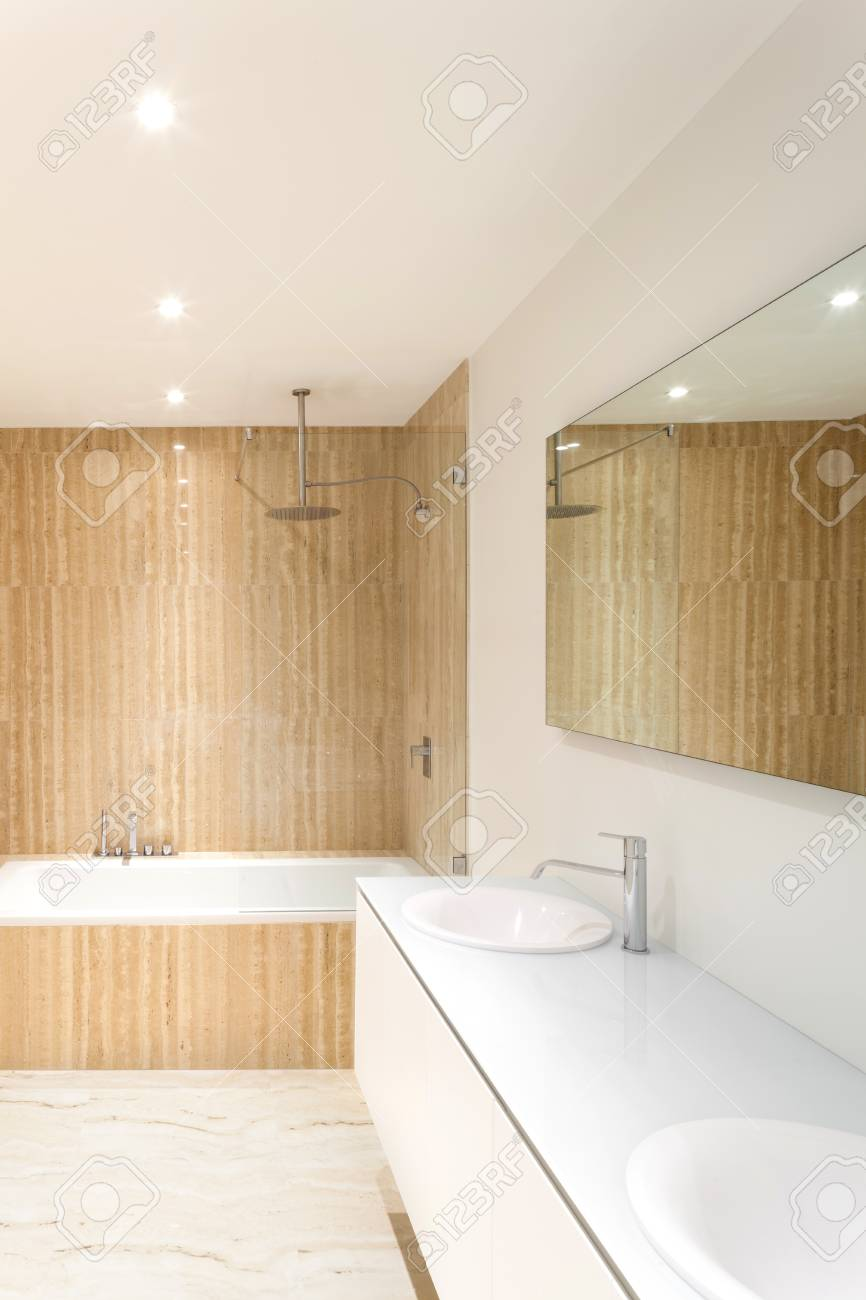 Nice Modern Bathroom With Bathtub And Sinks Stock Photo, Picture And ...